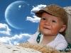 dítě v koši - barevná - měsíc
